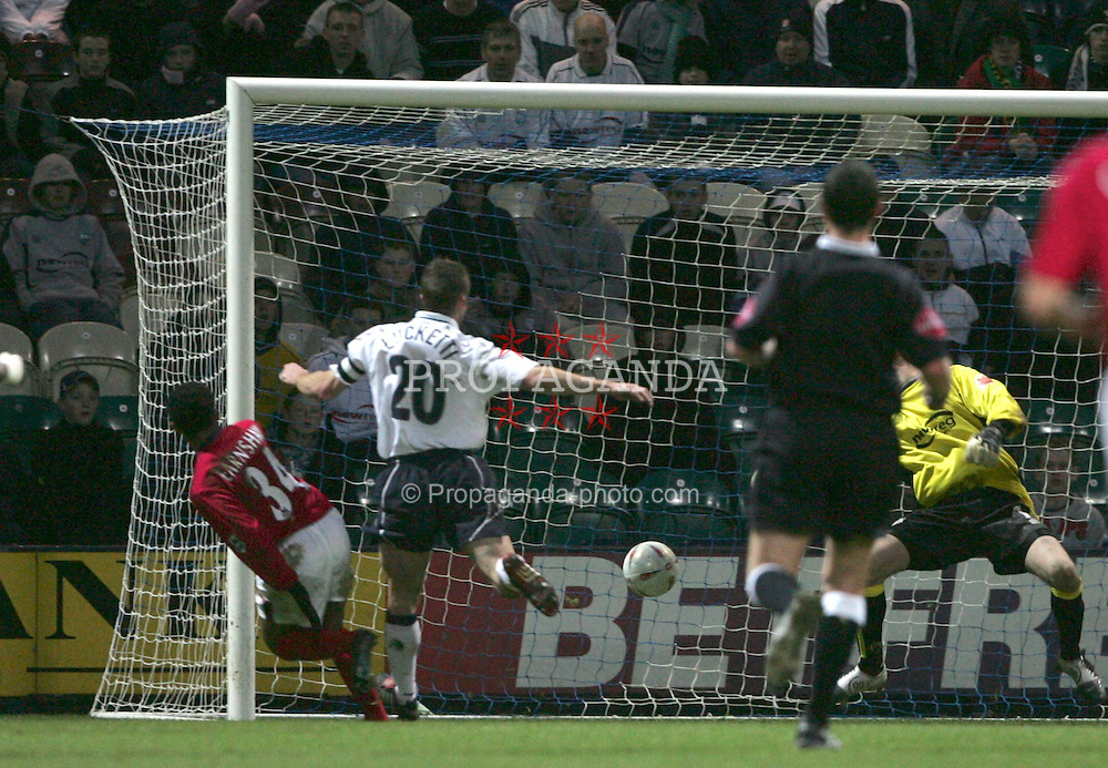 PRESTON, ENGLAND - SATURDAY JANUARY 8th 2005: West Bromwich Albion's Robert Earnshaw scores the opening goal against Preston North End during the FA Cup 3rd Round match at Deepdale. (Pic by Paul Ellis/Propaganda)