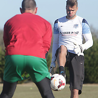 Goalkeeping Coach Matt Glaeser runs drills with Hayden Browne Sunday February 8, 2015 during tryouts for the Wilmington Hammerheads F.C. (Jason A. Frizzelle)
