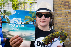 "St James, London, May 12th 2016. Protesters from transparency and accountability group One demonstrate demanding ""a new, global standard of transparency that could end the corruption that keeps people poor""."