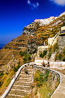 Stairway from the town of Fira down to the port, island of Santorini, the Cyclades, Greece