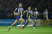 Warrington Wolves JOE WESTERMAN breaks away to score his sides first try of the game during the Dacia World Club Series match Warrington Wolves -V- Brisbane Broncos at Halliwell Jones Stadium , Warrington, Cheshire, England on February 18, 2017. (Steve Flynn/Image of Sport)