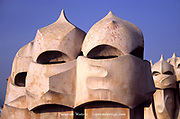 Three Helmet Wearing Warrior Face Carved Chimneys, Three Helmet Wearing Warrior Face Carved Chimneys, Casa Milà or La Pedrera by Antoni Gaudi, Barcelona, Spain