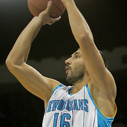 Oct 10, 2009; New Orleans, LA, USA; New Orleans Hornet forward Peja Stojakovic (16) shoots against the Oklahoma City Thunder during the second quarter at the New Orleans Arena. Mandatory Credit: Derick E. Hingle-US PRESSWIRE