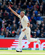 Wicket - Stuart Broad of England celebrates taking the wicket of Travis Head of Australia during the International Test Match 2019, fourth test, day two match between England and Australia at Old Trafford, Manchester, England on 5 September 2019.