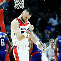 09 December 2017: Washington Wizards center Marcin Gortat (13) celebrates during the LA Clippers 113-112 victory over the Washington Wizards, at the Staples Center, Los Angeles, California, USA.