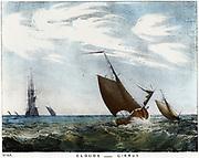 Cirrus clouds over a seascape. Coloured lithograph 1845.