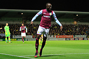 Aston Villa midfielder Albert Adomah (37) scores a goal to make the score 2-0 and celebrates during the EFL Sky Bet Championship match between Burton Albion and Aston Villa at the Pirelli Stadium, Burton upon Trent, England on 26 September 2017. Photo by Richard Holmes.