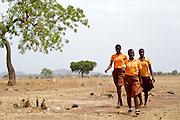 School girls walking to school in the morning, Ghana.