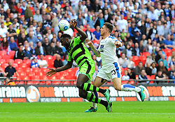 Emmanuel Monthe of Forest Green Rovers is fouled by Cole Stockton of Tranmere Rovers  - Mandatory by-line: Nizaam Jones/JMP - 14/05/2017 - FOOTBALL - Wembley Stadium- London, England - Forest Green Rovers v Tranmere Rovers - Vanarama National League Final
