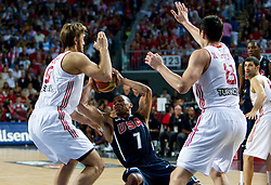 Russel Westbrook of USA between Semih Erden of Turkey and Ersan Ilyasova of Turkey during the finals basketball match between National teams of Turkey and USA at 2010 FIBA World Championships on September 12, 2010 at the Sinan Erdem Dome in Istanbul, Turkey.   (Photo By Vid Ponikvar / Sportida.com)
