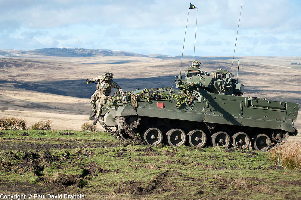 A Warrior of the 19 Regiment Royal Artillery (The Scottish Gunners) taking part in exercise Steel Sabre. A large Scale military live fire exercise on Otterburn Training Area it involves 1400 troops the majority from the Royal Artillery 1st Artillery Brigade and brings all the components of an effective Artillery group together to train in delivering firepower on the battlefield.<br /> <br />   02 March 2017 <br />   Copyright Paul David Drabble<br />   www.pauldaviddrabble.co.uk