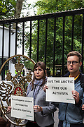 Greenpeace activists protest at the Embassy of Russia in Uccle, Brussels, Belgium following the seizure of the Greenpeace ship Arctic Sunrise in the Pechora Sea on Thursday September 19th, and the arrest of the crew. Greenpeace were in the Arctic to protest against oil drilling by Russian energy company Gazprom.<br /> © Dave Walsh/Greenpeace