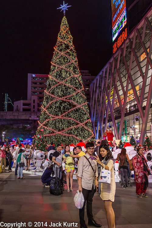 17 DECEMBER 2014 - BANGKOK, THAILAND: The Christmas tree at Central World in Bangkok. Thailand is overwhelmingly Buddhist. Christmas is not a legal holiday in Thailand, but Christmas has become an important commercial holiday in Thailand, especially in Bangkok and communities with a large expatriate population.    PHOTO BY JACK KURTZ
