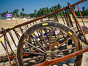 17 FEBRUARY 2018 - BAN LOT, PHETCHABURI, THAILAND: An ox cart wheel before a race in Ban Lat, a community about three hours south of Bangkok. The ox cart races are almost 100 years old, and date back to the reign of King Rama V. The races are run on a 100 meter long straightaway course.   PHOTO BY JACK KURTZ