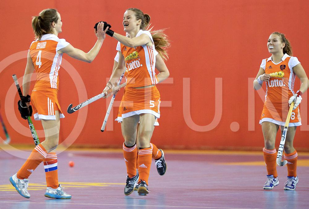 Prague - EuroHockey Indoor Championship (W) 2014<br /> 07 NED v GER (Pool B )<br /> foto: Karin de Ouden , Denise ADMIRAAL celebrates a goal.<br /> FFU PRESS AGENCY COPYRIGHT FRANK UIJLENBROEK