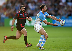 Marcelo Bosch of Argentina passes the ball - Mandatory byline: Patrick Khachfe/JMP - 07966 386802 - 25/09/2015 - RUGBY UNION - Kingsholm Stadium - Gloucester, England - Argentina v Georgia - Rugby World Cup 2015 Pool C.