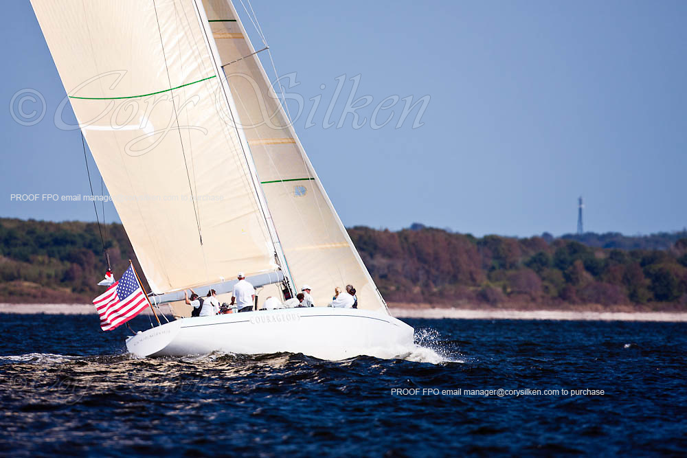 Courageous, 12 Metre Class, sailing in the Sail For Pride Regatta.