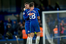 December 8, 2018 - London, Greater London, England - Jorginho of Chelsea and César Azpilicueta of Chelsea celebrates during the Premier League match between Chelsea and Manchester City at Stamford Bridge, London, England on 8 December 2018. (Credit Image: © AFP7 via ZUMA Wire)