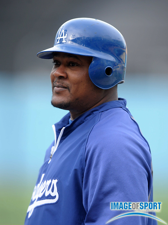 Apr 11, 2012; Los Angeles, CA, USA; Los Angeles Dodgers third baseman Juan Uribe (5) before the game against the Pittsburgh Pirates at Dodger Stadium.