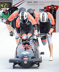 17.12.2017, Olympia Eisbahn, Igls, AUT, BMW IBSF Weltcup und EM, Igls, Viererbob, 1. Lauf, im Bild Justin Kripps, Alexander Kopacz, Jesse Lumsden, Oluseyi Smith (CAN, 2. Platz) // second placed Pilot Justin Kripps with Alexander Kopacz Jesse Lumsden Oluseyi Smith of Canada during 1st run of four-man Bobsleigh competition of BMW IBSF World Cup and European Championship at the Olympia Eisbahn in Igls, Austria on 2017/12/17. EXPA Pictures © 2017, PhotoCredit: EXPA/ Johann Groder