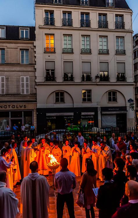 Easter celebration, St. Pierre du Gros Caillou parish church on Rue St. Dominique, Paris, France.