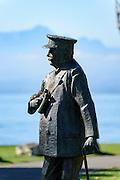 Bronze-Figur Ferdinand Graf von Zeppelin, Stadtgarten, Friedrichshafen, Bodensee, Baden-Württemberg, Deutschland