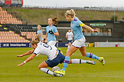 PENALTY Manchester City Women defender Steph Houghton (6) stamps on the ankle of Tottenham Hotspur Women striker Rianna Dean (9) during the FA Women's Super League match between Tottenham Hotspur Women and Manchester City Women at the Hive, Barnet, United Kingdom on 5 January 2020.