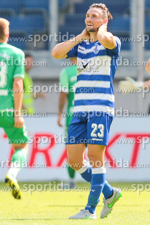29.08.2015, Schauinsland Reisen Arena, Duisburg, GER, 2. FBL, MSV Duisburg vs SpVgg Greuther Fuerth, 5. Runde, im Bild James Holland (#23, MSV Duisburg) // during the 2nd German Bundesliga 5th round match between MSV Duisburg and SpVgg Greuther Fuerth at the Schauinsland Reisen Arena in Duisburg, Germany on 2015/08/29. EXPA Pictures &copy; 2015, PhotoCredit: EXPA/ Eibner-Pressefoto/ Deutzmann<br /> <br /> *****ATTENTION - OUT of GER*****