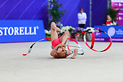 Ashram Linoy from Israel during the final of the ribbon. She is known for her and very high jumps. Her targhet is to win Israel's first Olympic rhythmic gymnastics medal at the 2020 Olympic Games in Tokyo.