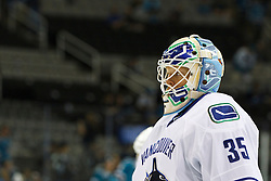 Sep 29, 2011; San Jose, CA, USA; Vancouver Canucks goalie Cory Schneider (35) warms up before the game against the San Jose Sharks at HP Pavilion.  San Jose defeated Vancouver 3-0. Mandatory Credit: Jason O. Watson-US PRESSWIRE