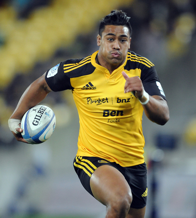 Hurricanes' Julian Savea trybound against the Chiefs in the Super Rugby match at Westpac Stadium, Wellington, New Zealand, Saturday, May 24, 2014. Credit:SNPA / Ross Setford