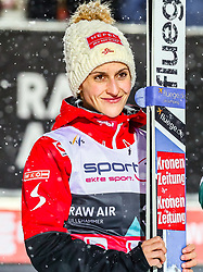 12.03.2019, Lysgards Schanze, Lillehammer, NOR, FIS Weltcup Skisprung, Raw Air, Lillehammer, Einzelbewerb, Damen, Siegerehrung, im Bild 3. Platz Eva Pinkelnig (AUT) // 3rd pleced Eva Pinkelnig of Austria during the winner Ceremony for the ladie's individual competition of the 2nd Stage of the Raw Air Series of FIS Ski Jumping World Cup at the Lysgards Schanze in Lillehammer, Norway on 2019/03/12. EXPA Pictures © 2019, PhotoCredit: EXPA/ Tadeusz Mieczynski