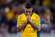 CANBERRA, AUSTRALIA - OCTOBER 10: Australian forward Jamie Maclaren (9) celebrates his goal during the FIFA World Cup Qualifier soccer match between Australia and Nepal on October 10, 2019 at GIO Stadium in Canberra, Australia. (Photo by Speed Media/Icon Sportswire)