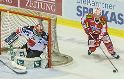 02.10.2015, Stadthalle, Klagenfurt, AUT, EBEL, EC KAC vs HC TWK Innsbruck Die Haie, im Bild Andy Chiodo (HC TWK Innsbruck Die Haie #30), Oliver Setzinger (EC KAC, #91) // during the Erste Bank Eishockey League match betweeen EC KAC and HC TWK Innsbruck Die Haie at the City Hall in Klagenfurt, Austria on 2015/190/02. EXPA Pictures © 2015, PhotoCredit: EXPA/ Gert Steinthaler