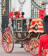 Picture shows HM The Queen leaving Buckingham Palace.<br /> <br /> Soldiers of the Household Division were on parade today to mark the Queen&rsquo;s Official Birthday on Saturday, 16th June on Horse Guards Parade at the ceremony known as Trooping the Colour. 16/06/2012<br /> <br /> Credit should read: L/Cpl Mark Larner RY/MOD<br /> <br /> This year, the Colour trooped in the presence of Her Majesty The Queen, was that of the 1st Battalion Coldstream Guards. The Duke of Edinburgh and the Royal Colonels (the Prince of Wales, The Duke of Cambridge, The Princess Royal and the Duke of Kent) were also be on parade.<br /> <br /> Over 1,600 Officers and Soldiers were also be on parade in the traditional uniforms of the Household Cavalry, Royal Horse Artillery, and Foot Guards.  Many more worked behind the scenes to ensure all goes smoothly.<br /> <br /> There were 241 horses on parade, and 290 musicians from 10 Bands &amp; Corps of Drums will march and play as one.  The famous Drum Horses of the Mounted Bands were also be on parade.