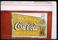 Close-up of old Coca Cola ad on front facade of the DDD Deli in the town of Kirkwood. Missouri