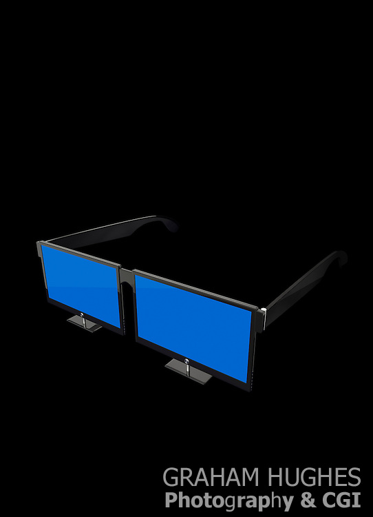 Two high definition tv's side by side like 3d glasses.
