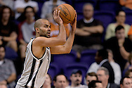Oct 16, 2014; Phoenix, AZ, USA; San Antonio Spurs guard Tony Parker (9) shots the ball against the Phoenix Suns in the first half at US Airways Center. Mandatory Credit: Jennifer Stewart-USA TODAY Sports