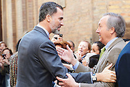 King Felipe VI of Spain visited Exhibition 'Goya and Zaragoza at 'Camon Aznar' Museum on March 10, 2015 in Zaragoza, Spain