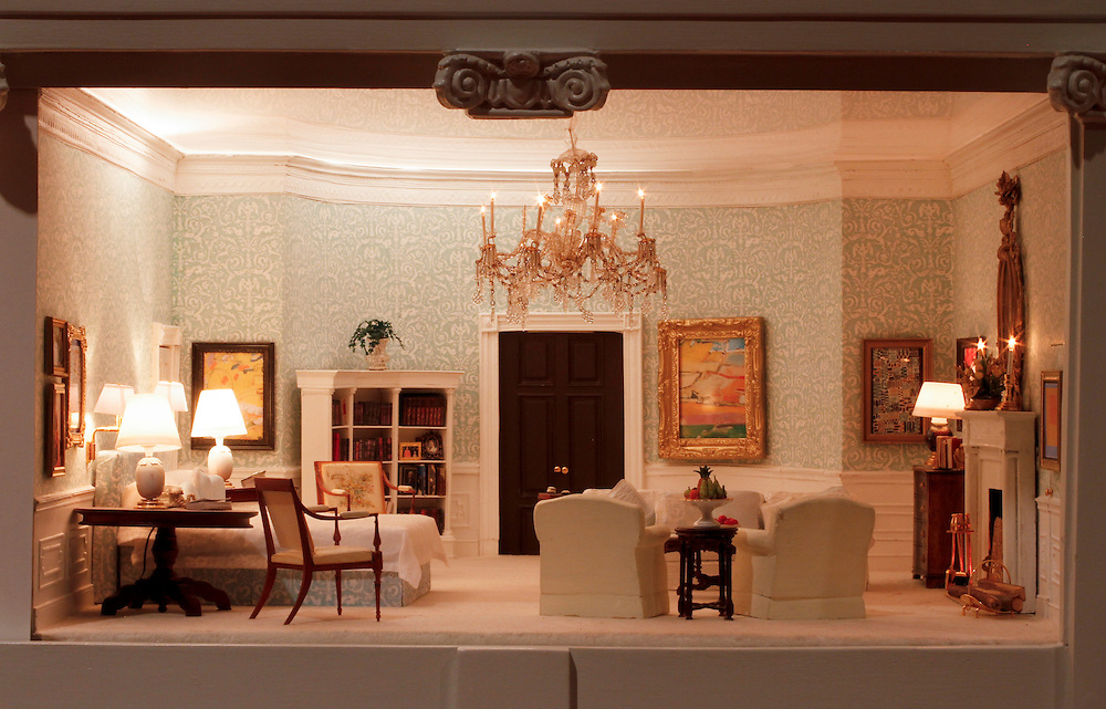 A scale model of the real White House is on display at the Reagan Library in Simi Valley, California. This is the Presidential Bedroom.