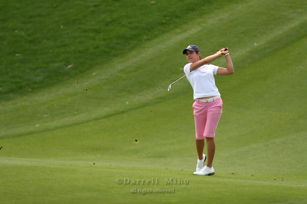 Apr. 1, 2006; Rancho Mirage, CA, USA; Lorena Ochoa hits an approach shot during the 3rd round of the Kraft Nabisco Championship at Mission Hills Country Club. ..Mandatory Photo Credit: Darrell Miho.Copyright © 2006 Darrell Miho .