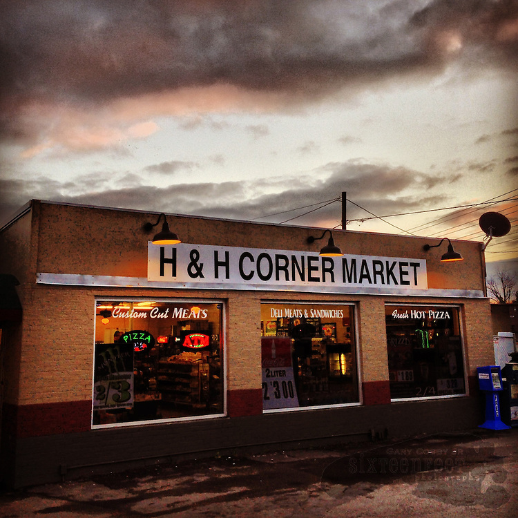 Gary Cosby Jr.  iPhone photographs  H&H Corner Market at sunset in Hartselle, Alabama.