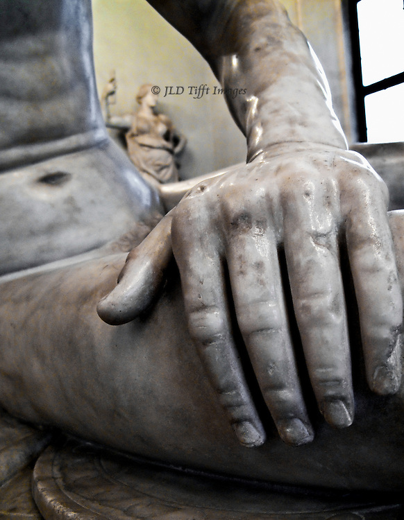 Statue of Dying (or wounded) Gaul in the Capitoline Museum, detail of hand pressing on his thigh