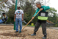 Members of the Jackson Park Advisory Council spent Saturday afternoon October 15th, 2016 cleaning up Jackson Park around the Jackson Park field house located at 6300 S. Stony Island.<br /> <br /> 6515, 6519 &ndash; President of the Jackson Park Advisory Council, Loise Mcurry and Bill Hill rake mulch in the playground. <br /> <br /> Please 'Like' &quot;Spencer Bibbs Photography&quot; on Facebook.<br /> <br /> All rights to this photo are owned by Spencer Bibbs of Spencer Bibbs Photography and may only be used in any way shape or form, whole or in part with written permission by the owner of the photo, Spencer Bibbs.<br /> <br /> For all of your photography needs, please contact Spencer Bibbs at 773-895-4744. I can also be reached in the following ways:<br /> <br /> Website &ndash; www.spbdigitalconcepts.photoshelter.com<br /> <br /> Text - Text &ldquo;Spencer Bibbs&rdquo; to 72727<br /> <br /> Email &ndash; spencerbibbsphotography@yahoo.com