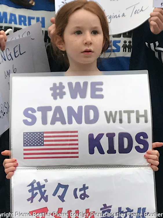 March 24, 3018 Tokyo , rally of U.S Democrats abroad Japan for strict gun control in USA after many mass shootings occurred in school .Attendee  came with their kids for the international rally call March for our lives .The Japan is the most strictest country to get and possess firegun Pierre Boutier