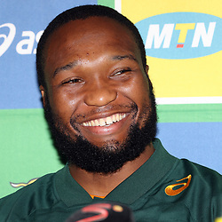 DURBAN, SOUTH AFRICA - AUGUST 16: Lukhanyo Am during the South African national rugby team announcement at  Garden Court Umhlanga on August 16, 2018 in Durban, South Africa. (Photo by Steve Haag/Gallo Images)