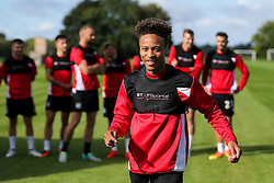 Bobby Reid looks on as Bristol City play Football Darts from Bristol Bubble Ball Ltd after training - Rogan Thomson/JMP - 30/09/2016 - FOOTBALL - Failand Training Ground - Bristol, England.