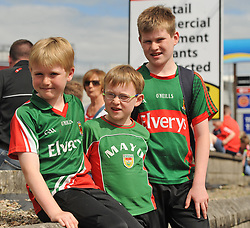 Mayo supporters Ross, Mark and Darragh O&rsquo;Connor from Westport on their way to the Gaelic grounds.<br /> Pic Conor McKeown