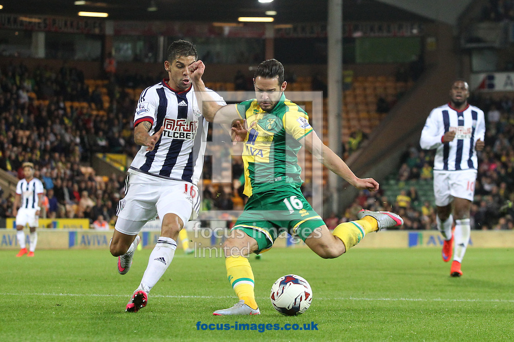 Matt Jarvis of Norwich opens the scoring during the Capital One Cup match at Carrow Road, Norwich<br /> Picture by Paul Chesterton/Focus Images Ltd +44 7904 640267<br /> 23/09/2015