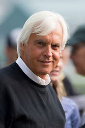 Mor Spirit trainer Bob Baffert talks with a tour group headed by Chris McCarron before Derby 142 hopefuls were on the track for training, Sunday, May 01, 2016 at Churchill Downs in Louisville.
